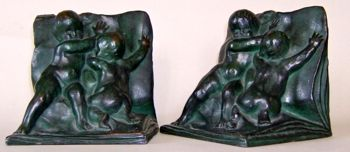Photo of 1903 bookends by H. Crenier sculptor