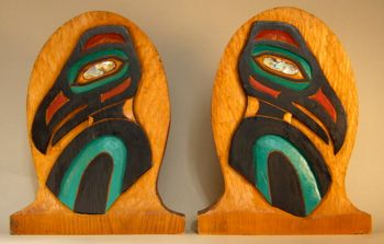 Photo of Carved Red Cedar Raven Bookends