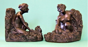 Kathodian Bronze Works Nymph Bookends, ca. 1914