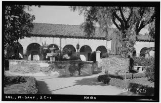 Fountain and Statue in San Fernando de Espana Mission Park and Mission Monastery (South Front). Historic American Buildings Survey, 1936. Photographer Henry F. Withey. Library of Congress Photographic Collection.