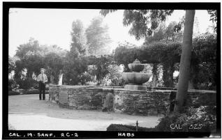 Fountain and Statue in San Fernando de Espana Mission Park and Mission Monastery originally on Mission property. Historic American Buildings Survey, 1936. Photographer Henry F. Withey. Library of Congress Photographic Collection.