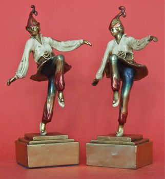 Pompeian Bronze Jester Bookends. 9 inches in height.