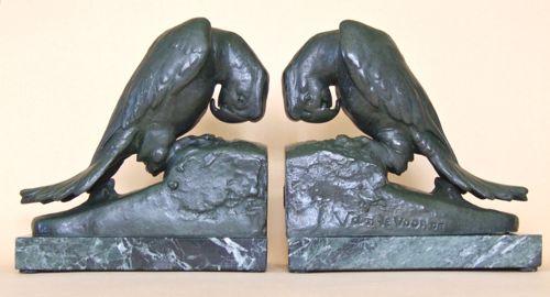 Parrots, spelter and marble, 6 inches in height.  Signed Van de Voorde.