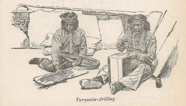 Sketch of Indians drilling turquoise