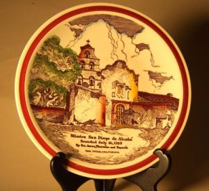 Photo of Vernon Kilns plate depicting San Diego Mission.