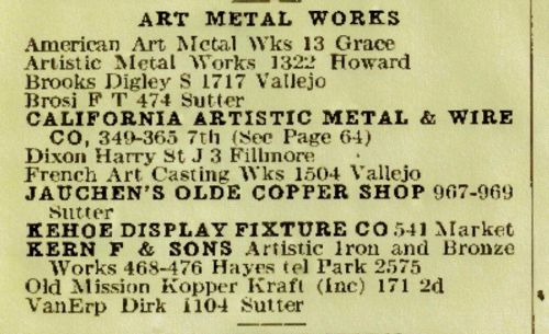 Photo of Art Metal Works Listings in SF City Directory 1923