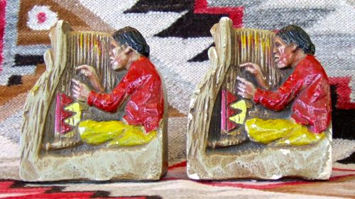 Photo of Chalkware Bookends of a Navajo Weaver
