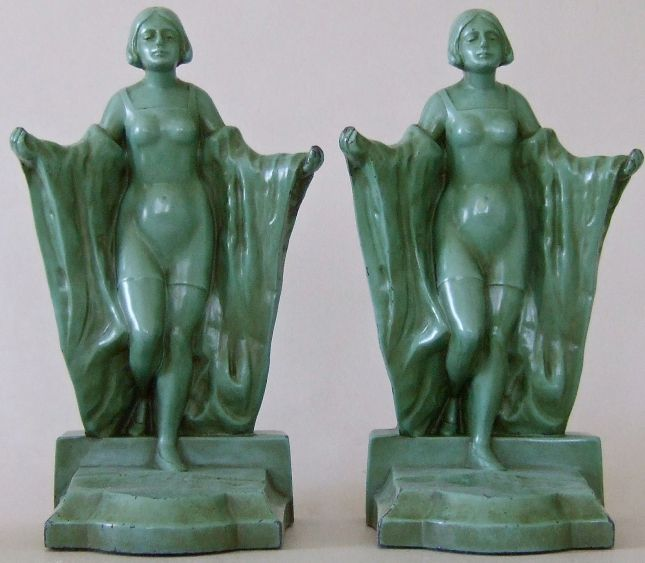 "Bathing Beauty. 8.25"", gray metal. Circa 1922.  Inscribed, Pat. Applied For 514."