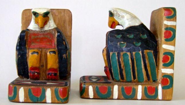 Tsimshian Eagle Bookends: Red cedar wood, Height 7.25 inches, Carver: Casper Mather, circa 1940.