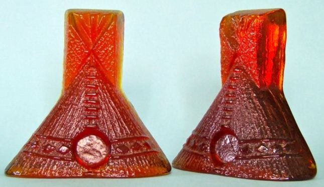 BLENKO Glass TeePee Bookends