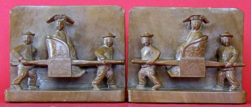 Asian Taxi Bookends: Stone carving of Chinese Sedan Chair. Height 4.5 inches. circa 1930.