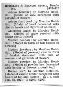 Listing of Rotellini Art Works