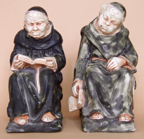 Monks at Ease: Porcelain bookends, each weighing about 2 lbs and 8 inches in height.