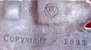 Connecticut Foundry Makers Mark on reverse of Lichfield Cathedral Bookends
