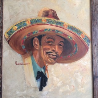 Oil portrait of a Charro by R. Washburn, ca. 1950.