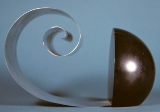 "Hemisphere and Scroll. 4.75"", wood and steel. Inscription Revere. Circa. 1936"
