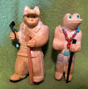 Two of Freddie Leekya Zuni Rock carvings purchased from the artist in 2011.