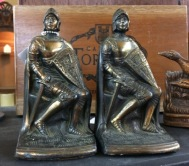 Photo of Knight bookends at 2018 Palmer Show Portland OR. Shows articulated armor.