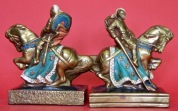 Knight on Horseback.  7 inches. Electroform bronze. Shop mark of conjoined MB (Marion Bronze). Circa 1960.  (Reproduction of pair by Armor Bronze)