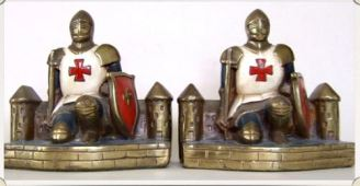 Knight Templar and Castles:  Gray metal. Height 6 inches. Attrib. Armor Bronze.   Circa 1922.