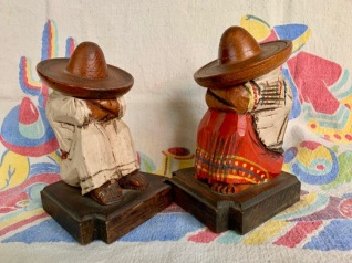 Sit and Sleep:  Painted wood containing metal.  Height 6.5  inches.  Mexico (unmarked). circa 1930s.